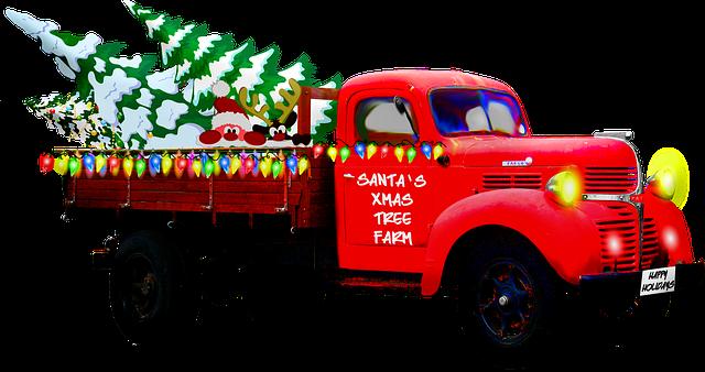 kamion převážející vánoční stromky
